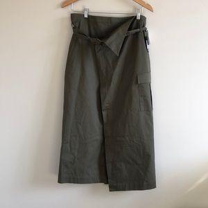 Badgley Mischka paperbag waist midi skirt